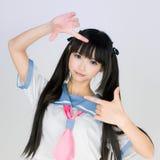 Menina adolescente bonito japonesa da escola Fotos de Stock