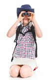 Menina adolescente com binocular Fotografia de Stock Royalty Free