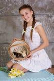 Menina adolescente com a cesta completa dos pintainhos fotografia de stock