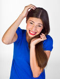 Menina adolescente com expressão engraçada foto de stock
