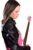 Menina adolescente com guitarra Fotos de Stock Royalty Free