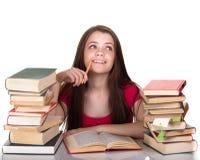 Menina adolescente com lote dos livros Imagem de Stock