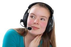 Menina adolescente com microfone Fotos de Stock