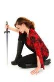 Menina adolescente com o trajeto de grampeamento da espada Fotos de Stock Royalty Free
