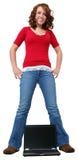 Menina adolescente com portátil Fotos de Stock Royalty Free