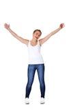 Menina adolescente com suas mãos acima Fotografia de Stock Royalty Free