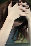 Menina adolescente comprimida Fotografia de Stock