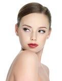 Menina adolescente da sensualidade com batom vermelho Fotos de Stock Royalty Free