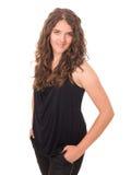 Menina adolescente de sorriso bonita com cabelo ondulado longo Fotos de Stock Royalty Free