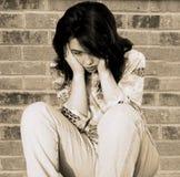 Menina adolescente deprimida triste Fotografia de Stock