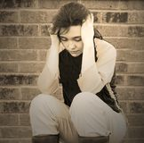 Menina adolescente deprimida triste Imagens de Stock Royalty Free