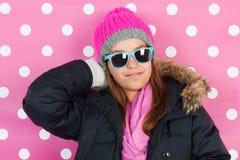 Menina adolescente do retrato no inverno Imagens de Stock Royalty Free