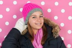 Menina adolescente do retrato no inverno Fotos de Stock Royalty Free
