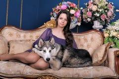 Menina adolescente e malamute do cão no sofá Foto de Stock Royalty Free