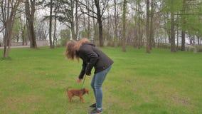 Menina adolescente e terrier pequeno que jogam em um parque 4k UHD video estoque
