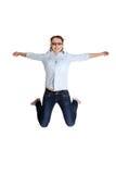 Menina adolescente feliz de salto Fotografia de Stock Royalty Free