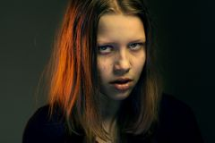 Menina adolescente irritada Fotos de Stock