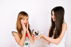 A menina adolescente mostra a seu amigo muitas garrafas do verniz para as unhas Imagem de Stock Royalty Free