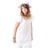 Menina adolescente na grinalda do verão Fotos de Stock Royalty Free