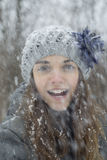 Menina adolescente na neve Fotografia de Stock Royalty Free