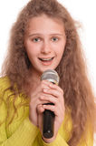 Menina adolescente que canta Imagem de Stock