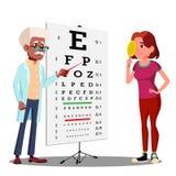 Menina adolescente que faz a carta de teste no vetor do armário do oftalmologista s Ilustração isolada ilustração stock