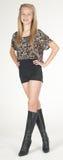 Menina adolescente que modela a roupa da forma no estúdio Fotografia de Stock Royalty Free