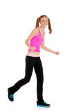 Menina adolescente que ri fazendo a aptidão do zumba Fotografia de Stock