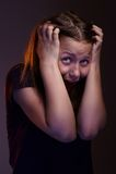 Menina adolescente receosa fotografia de stock royalty free