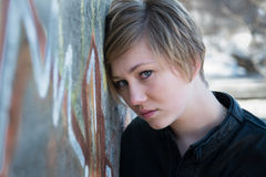 Menina adolescente triste fotografia de stock royalty free