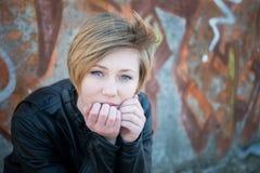 Menina adolescente triste imagem de stock
