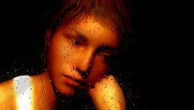 Menina adolescente triste ilustração stock