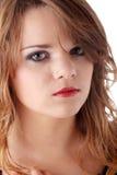 Menina adolescente triste com os rasgos em seus olhos Imagem de Stock