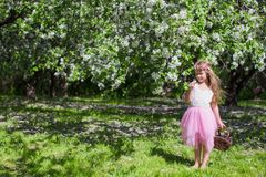 A menina adorável com asas da borboleta tem o divertimento Foto de Stock Royalty Free