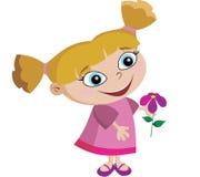 Menina adorável com flor Fotos de Stock Royalty Free