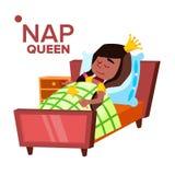 Menina adormecido, personagem de banda desenhada de sono do vetor da criança ilustração royalty free