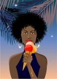 Menina africana com gelado de derretimento Fotografia de Stock
