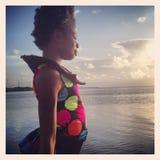 Menina africana nas chaves de Florida fotos de stock royalty free
