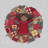 Menina afro-americano com ilustração do vetor dos presentes Foto de Stock