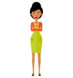 A menina afro-americano da senhora do negócio da animação com braços cruzou-se isolado no fundo branco Vetor isolado Imagens de Stock