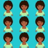 A menina afro-americano expressa emoções Fotos de Stock
