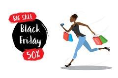 Menina afro-americano nova que corre com sacos de compras ilustração royalty free