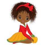 Menina afro-americano pequena bonito do vetor com Apple amarelo ilustração do vetor