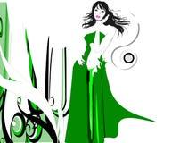 Menina agradável no vento ilustração do vetor
