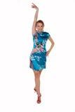 Menina agradável no vestido do chinês Fotografia de Stock Royalty Free