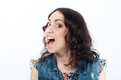 Menina agradável com boca aberta Fotografia de Stock Royalty Free