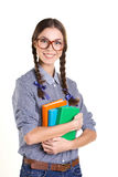 Menina alegre com livros Imagem de Stock Royalty Free