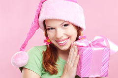 Menina alegre com presente Fotos de Stock Royalty Free