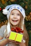 Menina alegre com presente de Natal Imagem de Stock