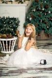 A menina alegre está jogando com os cones no fundo da árvore de Natal Fotografia de Stock